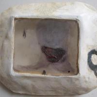 le Q - planche de gravure, plexi et carborundum, encadrée de résine