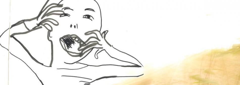 photographie, paysage brûlé, portrait de kOLya San en dessin