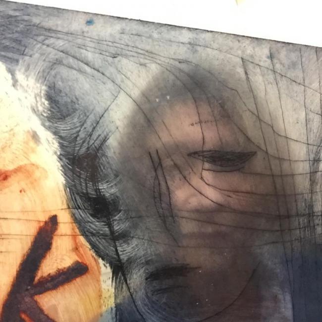 troubles au corps 02, photographie, autoportrait, reflet, plaque de plexiglass encrée