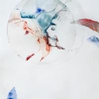séreie cocon, à naître2 - gravure, pointe sèche, monotype