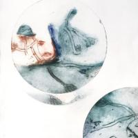 série sphères, 2 - gravure, pointe sèche, eau forte, monotype