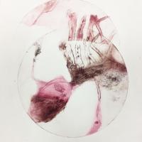 série métamorphoses, 2 - gravure, pointe sèche, monotype