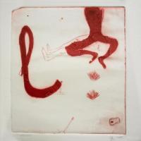 le L rouge -  gravure au carborundum et monotype