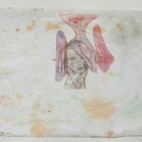 série retrouvailles, hommage à kOLya San - gravure sur tissu ancien