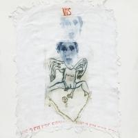 série retrouvailles,  anges déments - gravure, photogravure sur tissu ancien