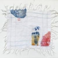 série retrouvailles,  vivre - gravure, photogravure, tampon, dessin sur tissu ancien