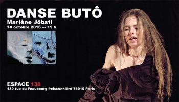 Marlène Jöbstl danse le Butô à l'exposition PROJET DOUBKLE